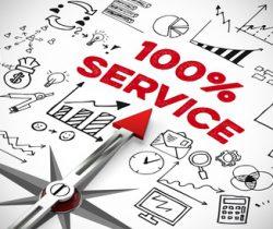 100% Service und Kundenservice als Konzept mit Kompass und Pfeil